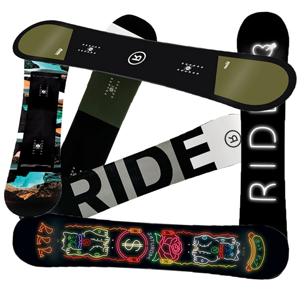 This year's new arrivals are here from RIDE, the maker of twin and directional snowboards-- at The Great Outdoors.
